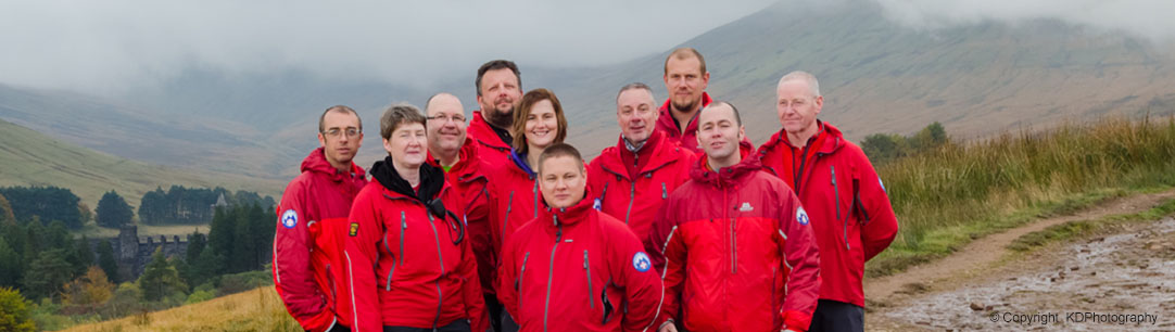 Central Beacons Mountain Rescue Team members covering Pen-y-fan and surrounding areas